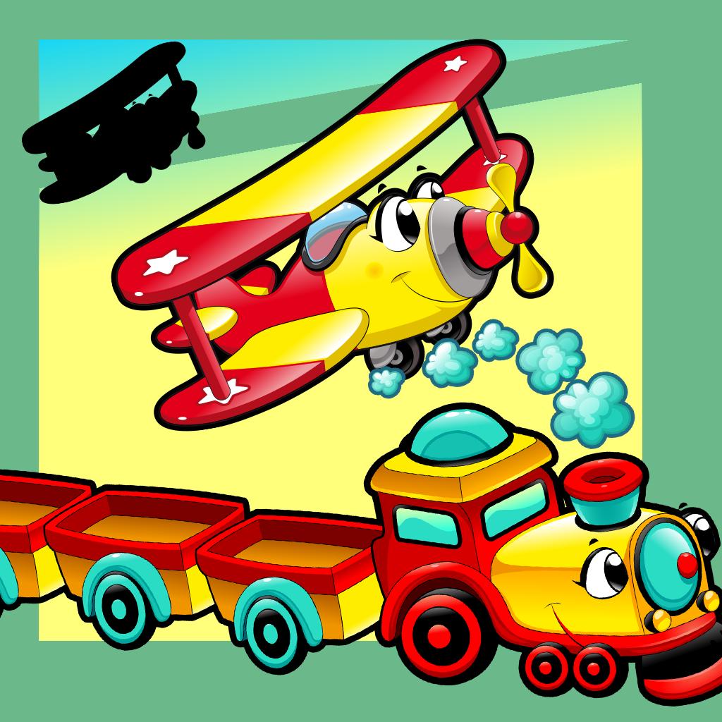 Анимированные Дети Игры: Shadow Puzzle С Забавными Автомобилей И Самолетов В Городе